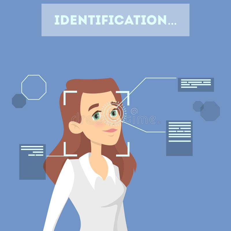 Face identification system. Checking woman eyes and shape stock illustration