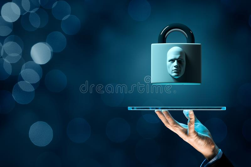 Face identification tablet protection stock illustration