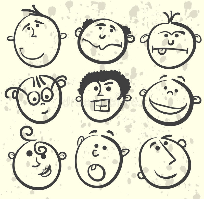 Face illustration cartoon collection royalty free stock photography