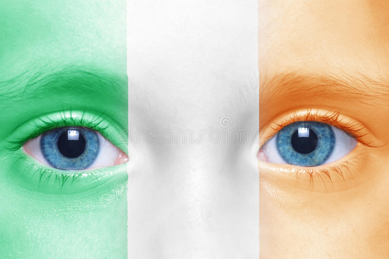 face with irish flag royalty free stock photography
