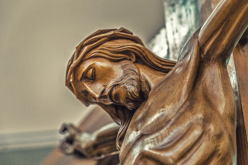 The face of Jesus Christ with crown of thorns royalty free stock photography