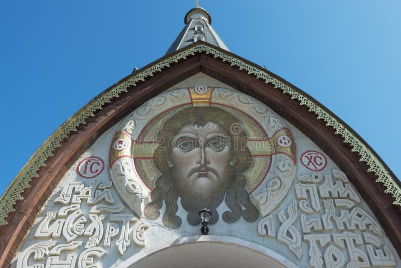 The face of Jesus Christ at the main entrance stock photo