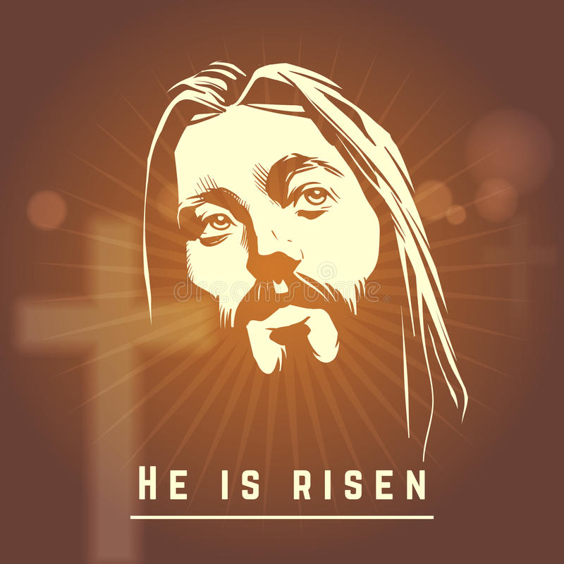 Face of Jesus with He is risen text. Easter stock illustration