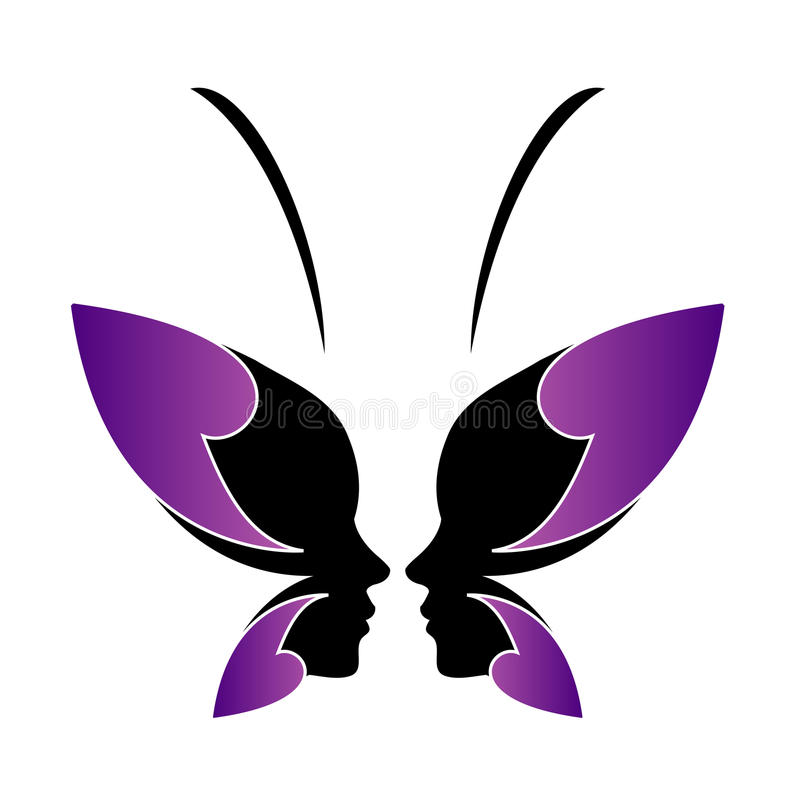 Face of a lady and butterfly. Logo concept for spa or beauty royalty free illustration