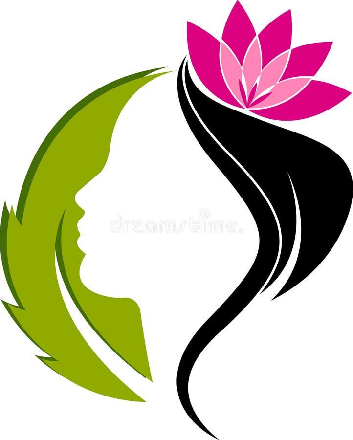 Face leaf logo stock illustration