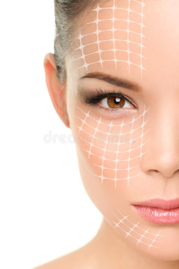 Face lift anti-aging treatment - Asian woman stock photos