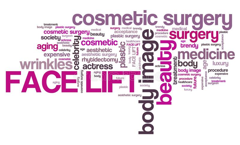 Face lift surgery. Face lift - cosmetic surgery. Tag cloud concept stock illustration