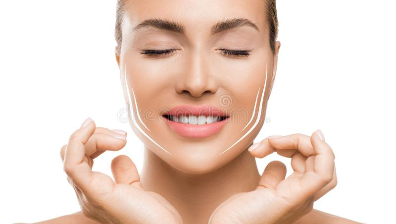 Face lift treatment anti aging skincare woman concept on white background. stock image