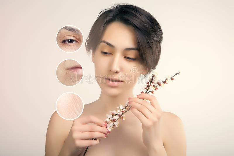 face lifting and old skin problems concept portrait of young asian model royalty free stock photo