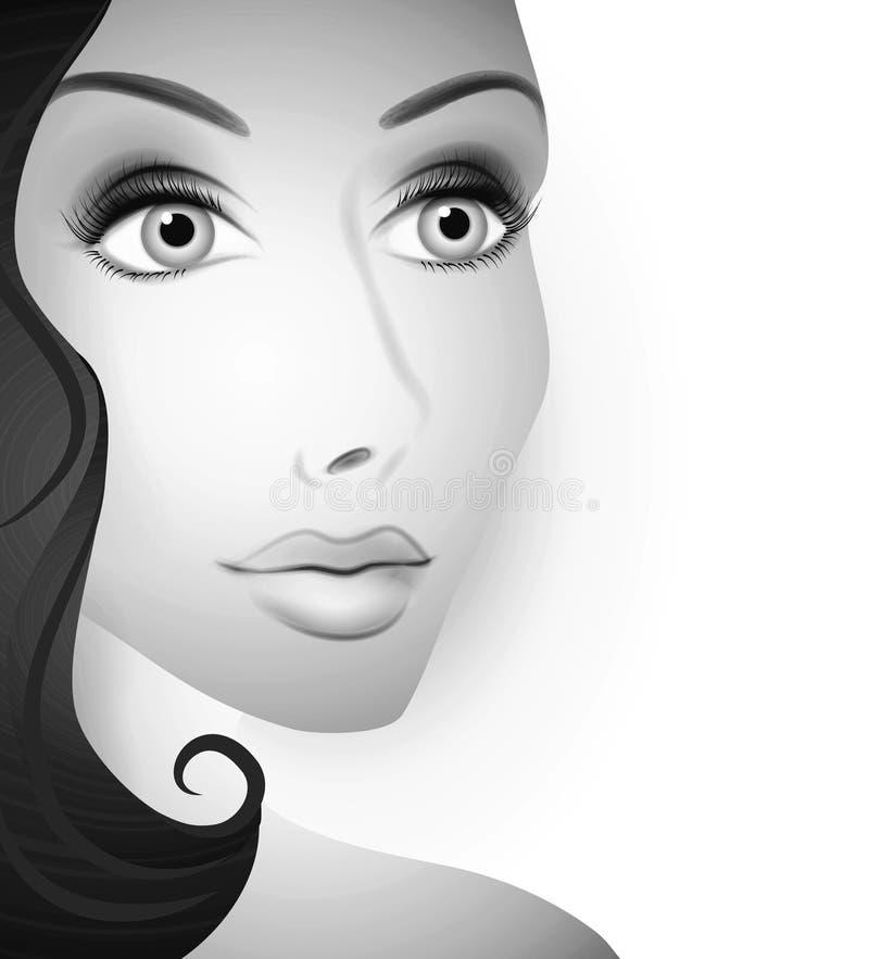 Face lindo do BW da mulher ilustração do vetor
