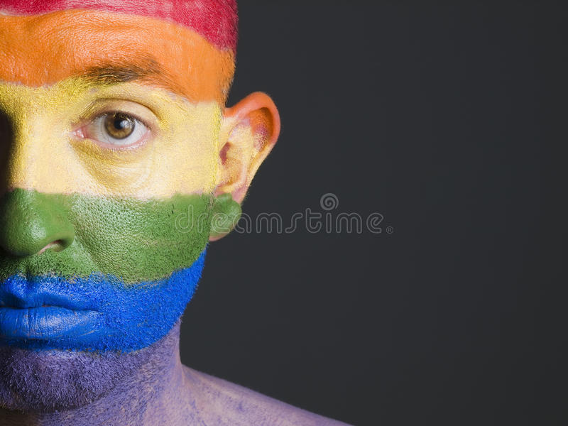Download Face Man Painted With Gay Flag Royalty Free Stock Image - Image: 27912976