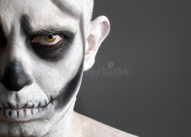 Download Face Man Painted With A Skull Stock Image - Image of cranium, mystery: 27609463