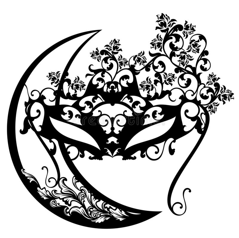 Face mask among flowers and crescent moon vector. Masquerade face mask among rose flowers and ornate crescent moon - night party black and white vector design vector illustration