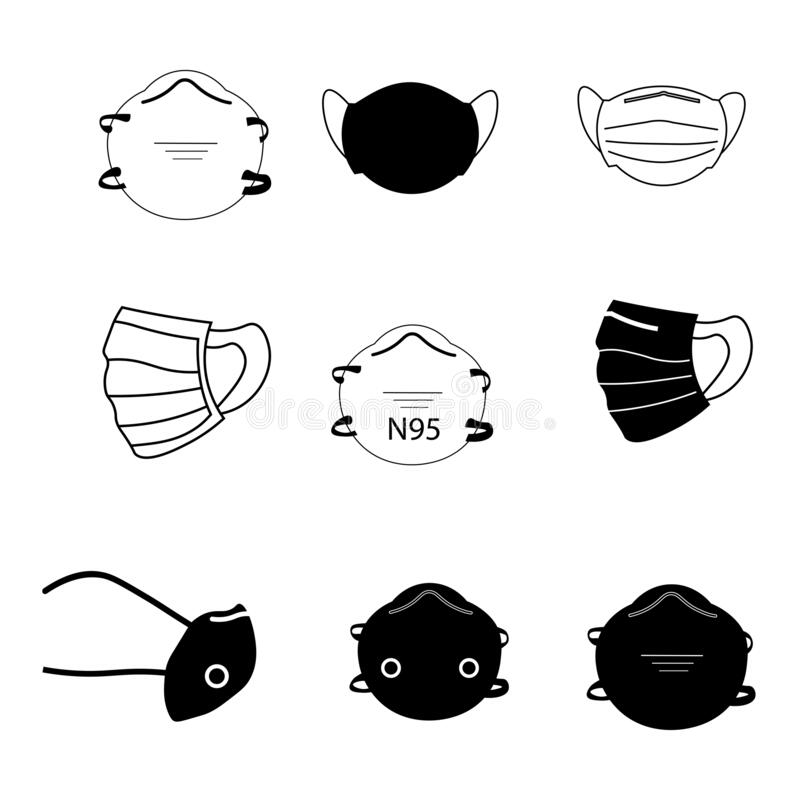 Free Face Mask Set. Set Of Various Face Mask Medical Surgical N95 Mask. PPE For Covid-19 Coronavirus. Vector EPS Royalty Free Stock Photo - 182325385