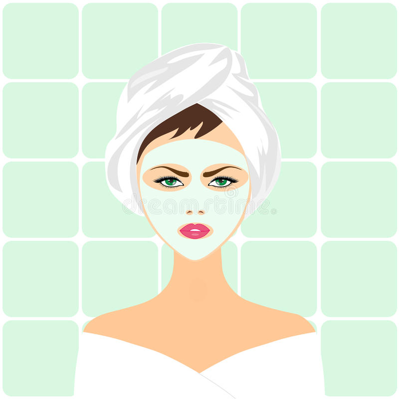 Download Face Mask Spa Woman stock illustration. Illustration of beauty - 26727199