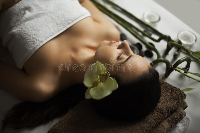 Face Massage. Close-up of a Young Woman Getting Spa Treatment. Face Massage. Close-up of a Young Woman Getting Spa Treatment stock photo