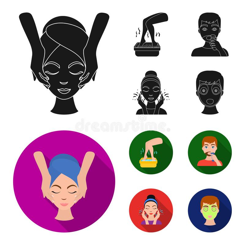 Face massage, foot bath, shaving, face washing. Skin Care set collection icons in black,flat style vector symbol stock. Illustration royalty free illustration