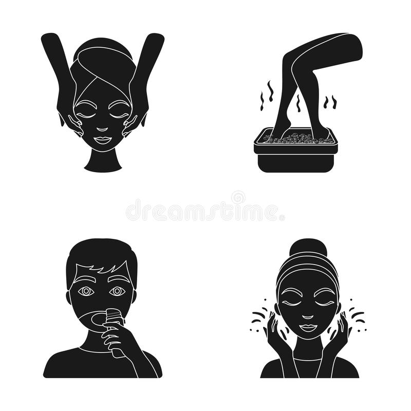 Face massage, foot bath, shaving, face washing. Skin Care set collection icons in black style vector symbol stock. Illustration vector illustration