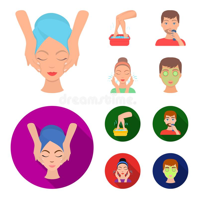 Face massage, foot bath, shaving, face washing. Skin Care set collection icons in cartoon,flat style vector symbol stock. Illustration stock illustration