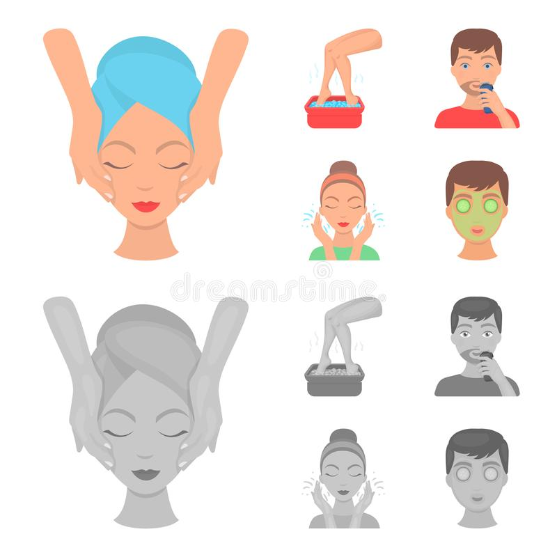 Face massage, foot bath, shaving, face washing. Skin Care set collection icons in cartoon,monochrome style vector symbol. Stock illustration stock illustration