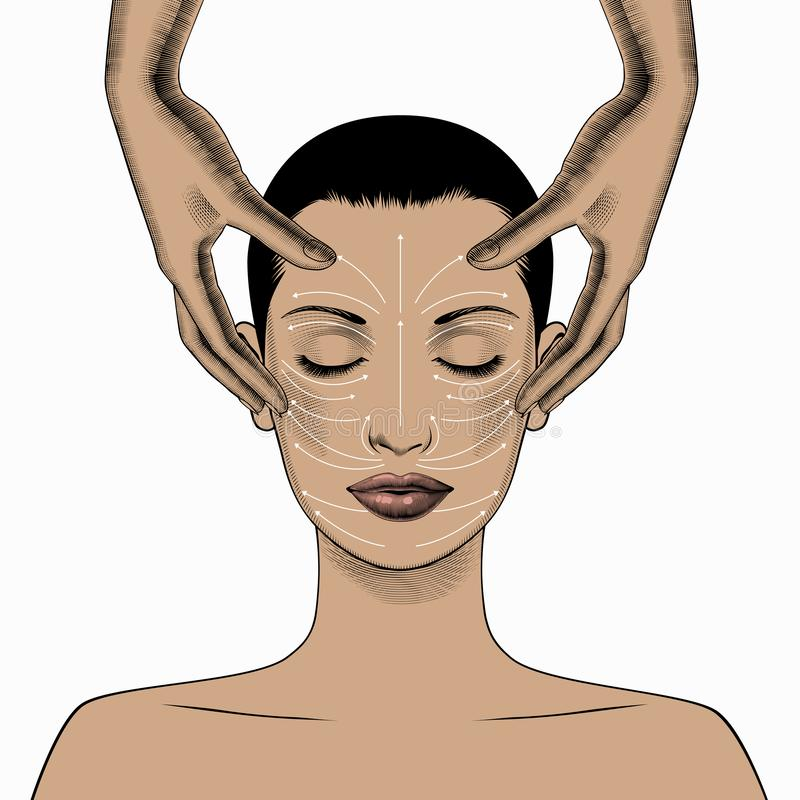 Face massage instruction. Beautiful Young Woman with Clean Fresh Skin. royalty free illustration
