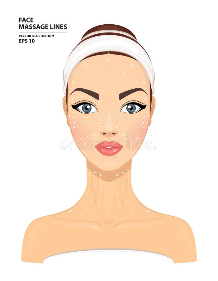 Face massage lines. Beautiful woman`s face isolated on white background. Model for facial beauty treatment. Skin care concept vector illustration