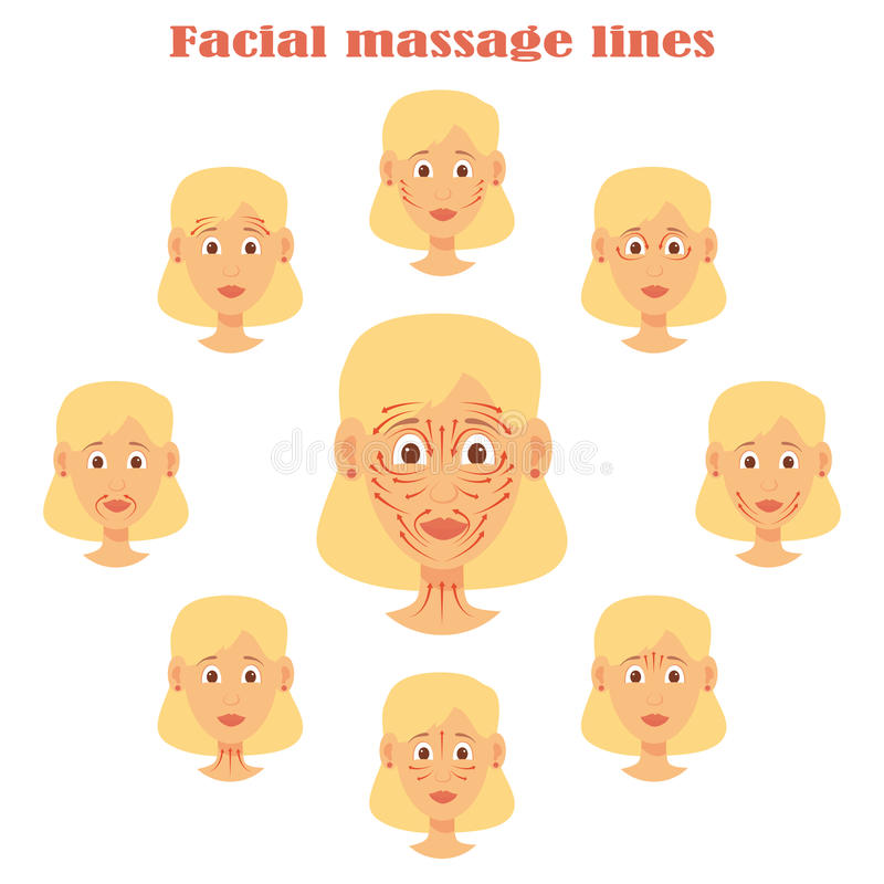 Face massage set of woman character isolated head images royalty free illustration