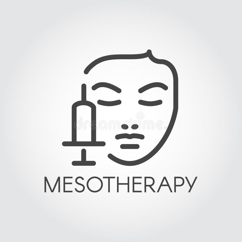 Face mesotherapy line icon. Medical or beauty treatment for skin care, rejuvenation, anti-aging concept contour label. Cosmetology, dermatology procedure stock illustration