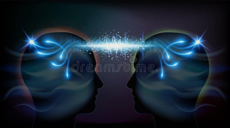 Human Head Telepathy Inspiration Enlightenment Unity consciousness vector illustration