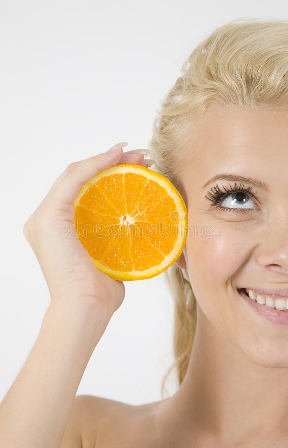 Download Face Of Model With Orange Slice Stock Image - Image: 6389665