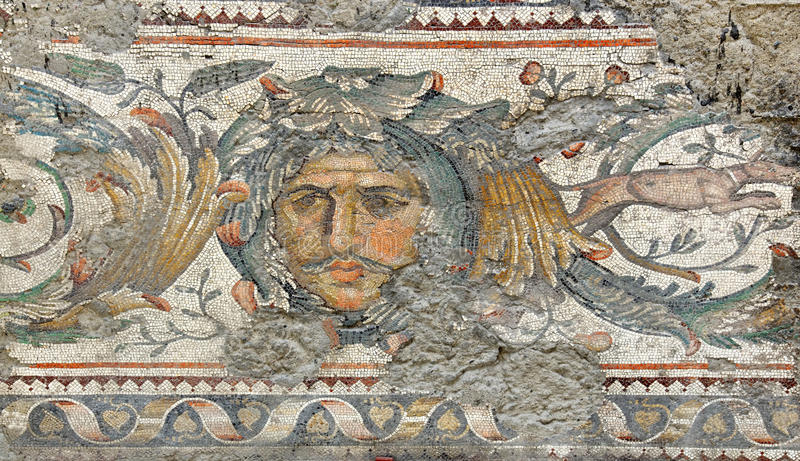The face of nature. Ancient roman mosaic of a mans face with moustache with sad searching expression from the remains of the Great Palace in constantinople royalty free stock photography