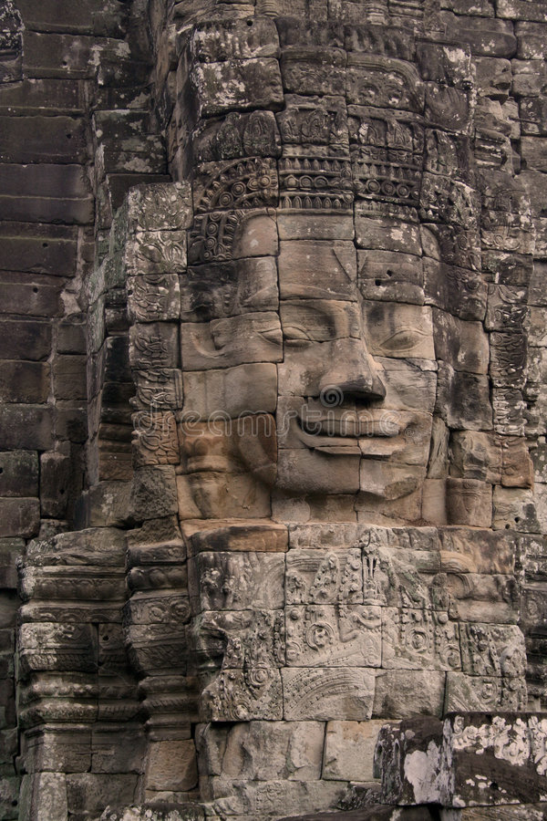 Face no templo de Angkor Wat foto de stock