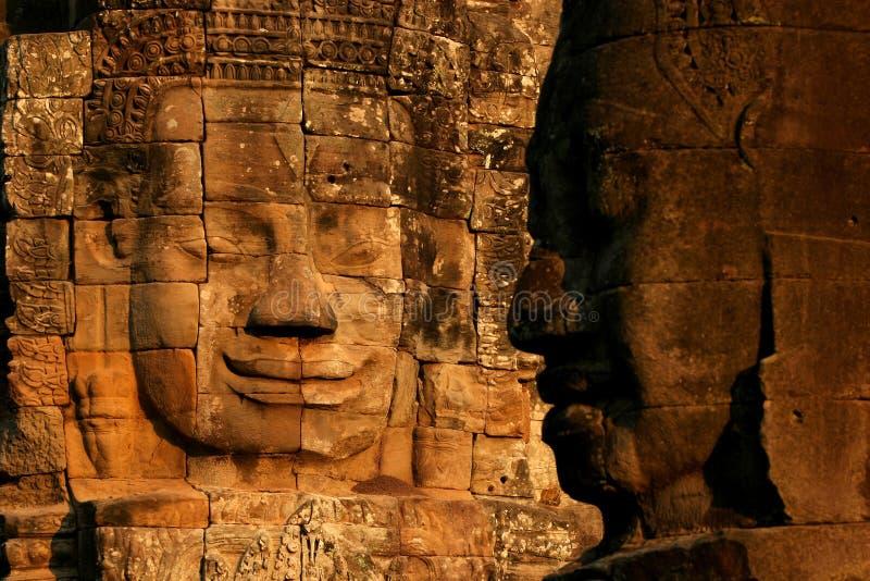 Face no templo de Bayon, Angkor foto de stock royalty free