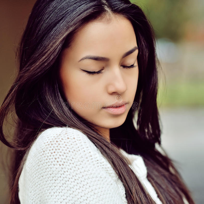 Free Face Of A Beautiful Girl With Eyes Closed - Close Up Stock Photos - 60728603