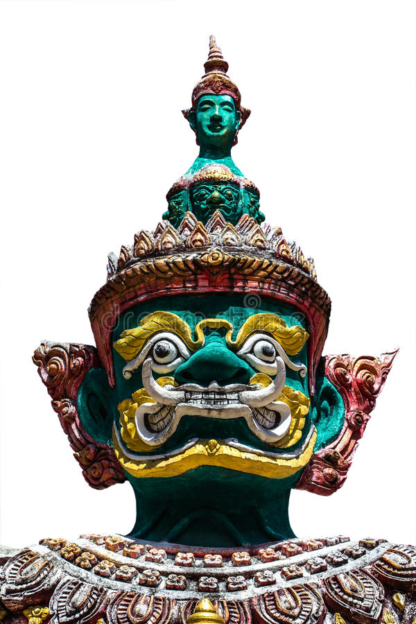 Free Face Of Giant Thai Style Statue On White Background Royalty Free Stock Images - 41462689