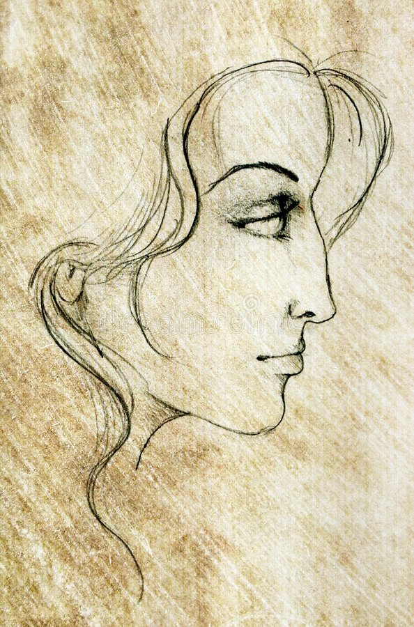 Free Face Of Woman Sketch Drawing Stock Image - 20801