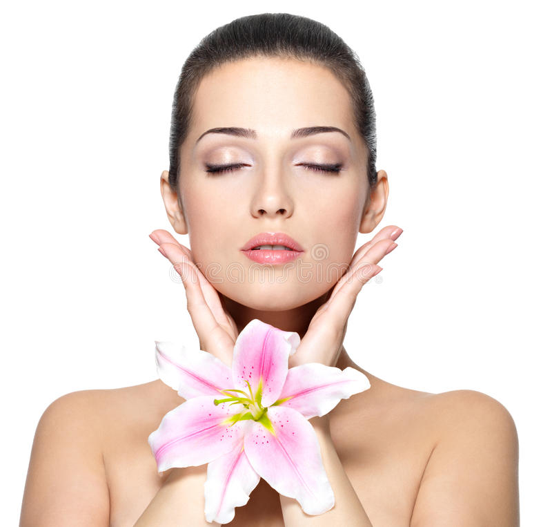 Free Face Of Woman With Flower. Beauty Treatment Royalty Free Stock Photo - 27505315
