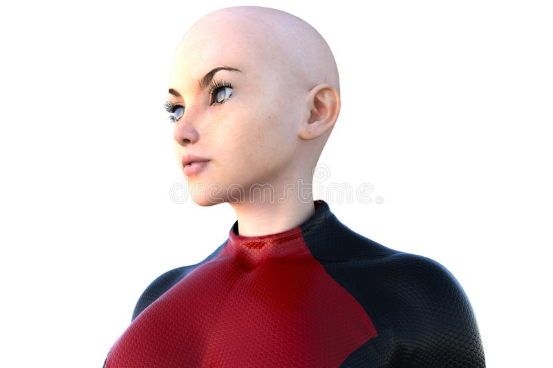 Face of one young bald girl in a super suit. White skin. Left side of the face royalty free illustration
