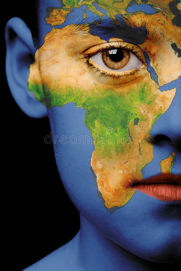 Face paint - africa. Girl with map painted on her face