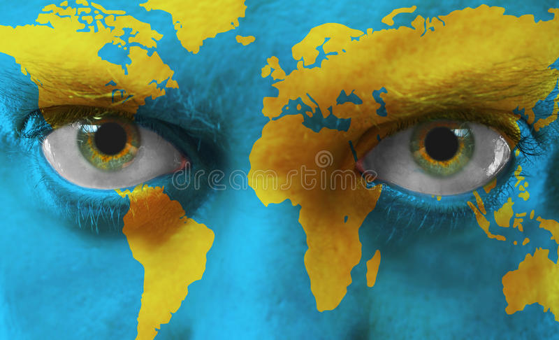 Face with painted map vector illustration