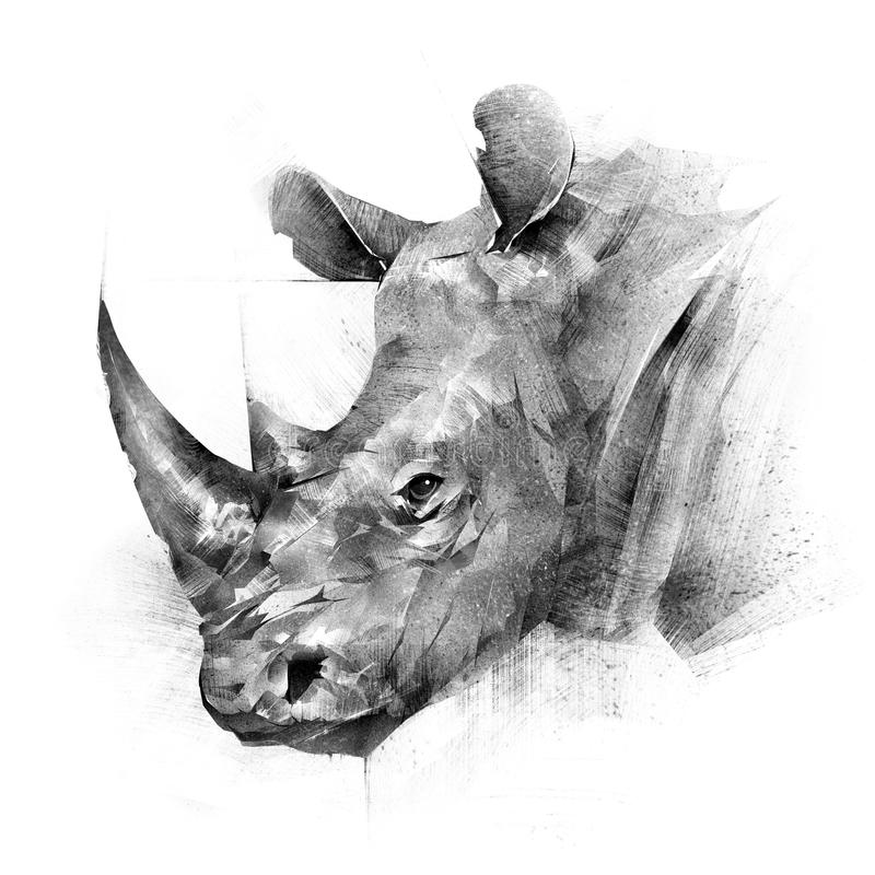 Free Face Painted Rhinoceros Animal On White Background Stock Photo - 103011970