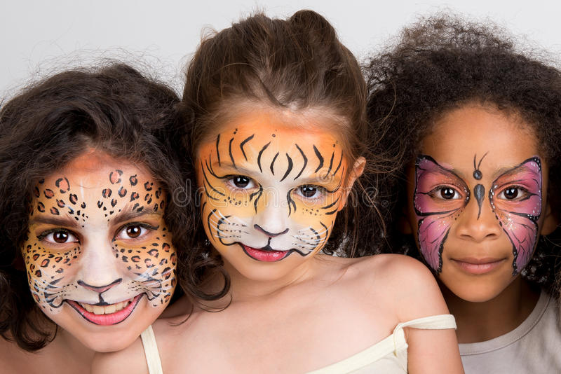 Face painting group stock photo