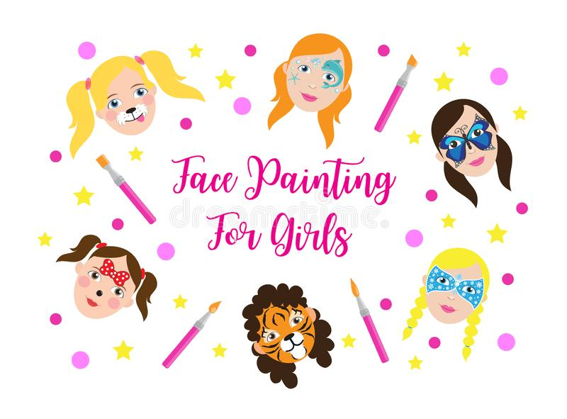 Face painting for kids girls collection. set of icons in cartoon flat style for banner, poster. children`s holiday stock illustration