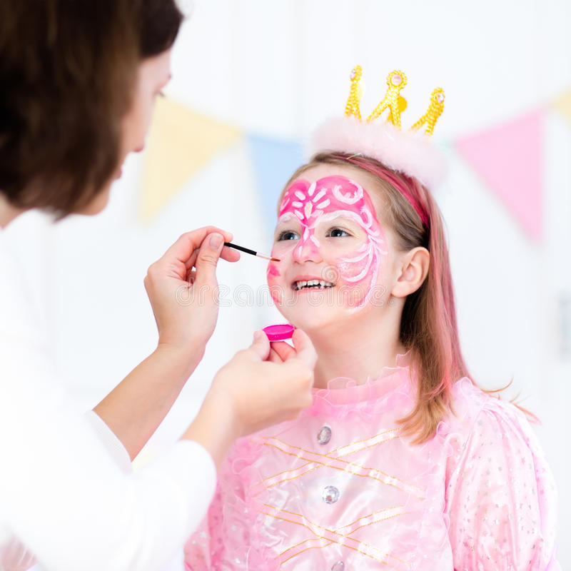 Face Painting For Little Girl Birthday Party Stock Photo - Image of ...