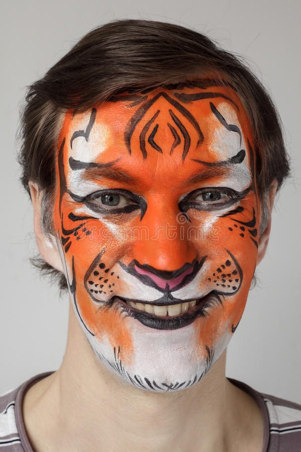 Face painting tiger royalty free stock photography