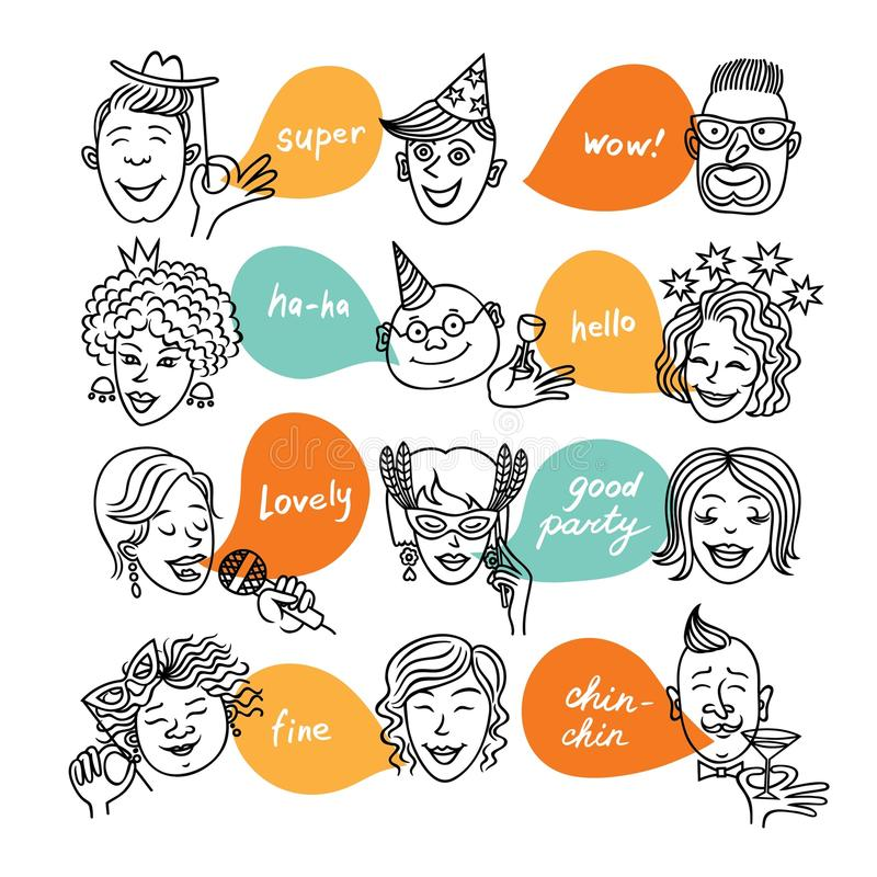 Face_party6 stock illustrationer