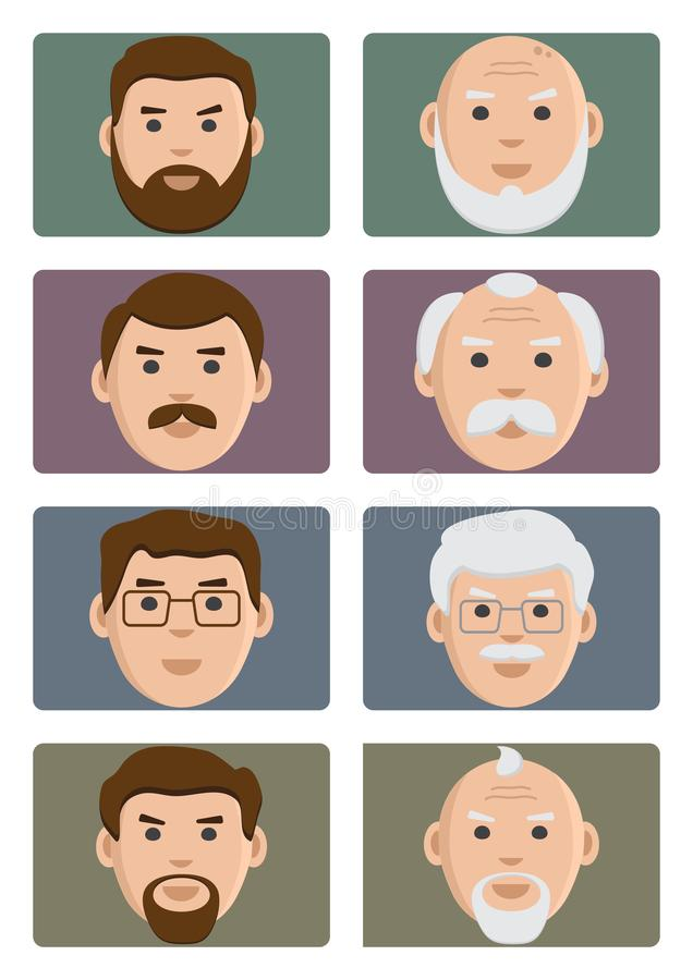Face people ages icons, male from young to old. Vector illustration. Face people ages icons, male from young to old. Flat set on colored background, avatar stock illustration