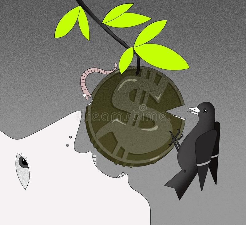 Income growth, face of a person in profile with an open mouth, tries to bite off the coin with a dollar sign on the branch. Coin w. The face of a person in royalty free illustration