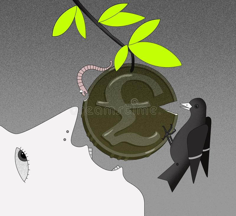 Face of a person in profile with an open mouth, tries to bite off the coin with a GBP sign on the branch. The face of a person in profile with an open mouth royalty free illustration