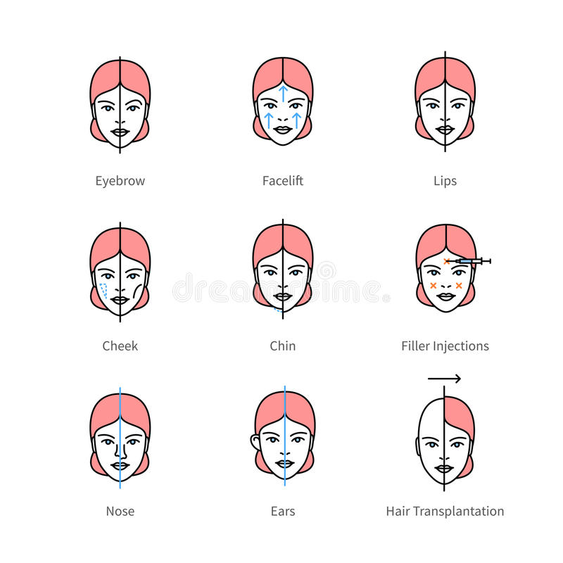 Face plastic surgery, aesthetic medicine symbols royalty free illustration